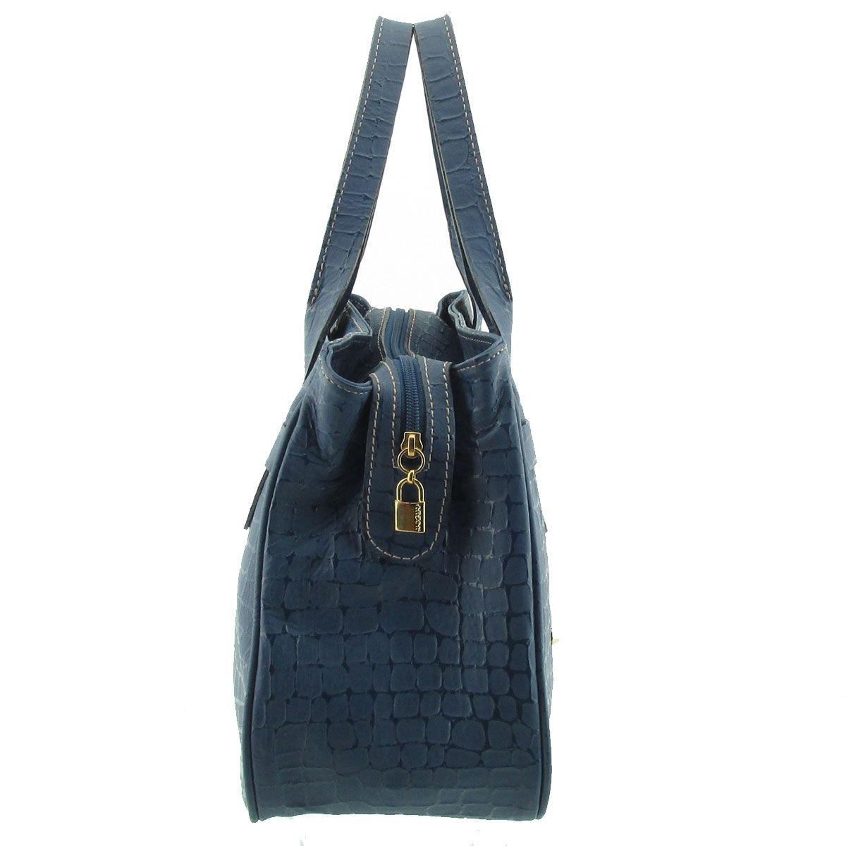 Bolsa de Mão Couro Azul