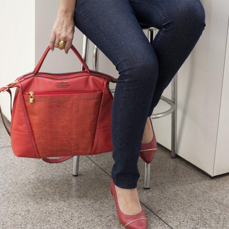 Bolsa de Mão em Couro Vermelho