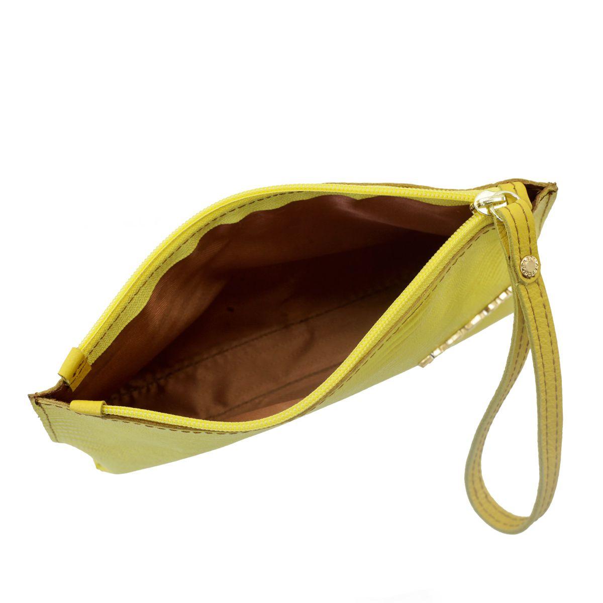ed2944c0c4cc0 ... Bolsa de Mão ou Necessaire com Alça Amarelo - ARZON ...