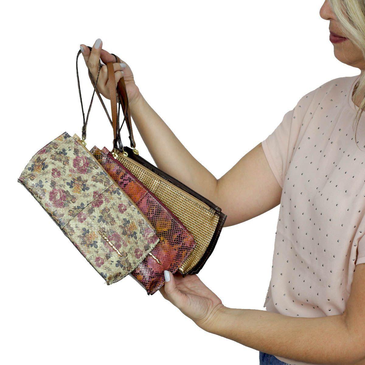 Bolsa de mão ou Necessaire com alça Café