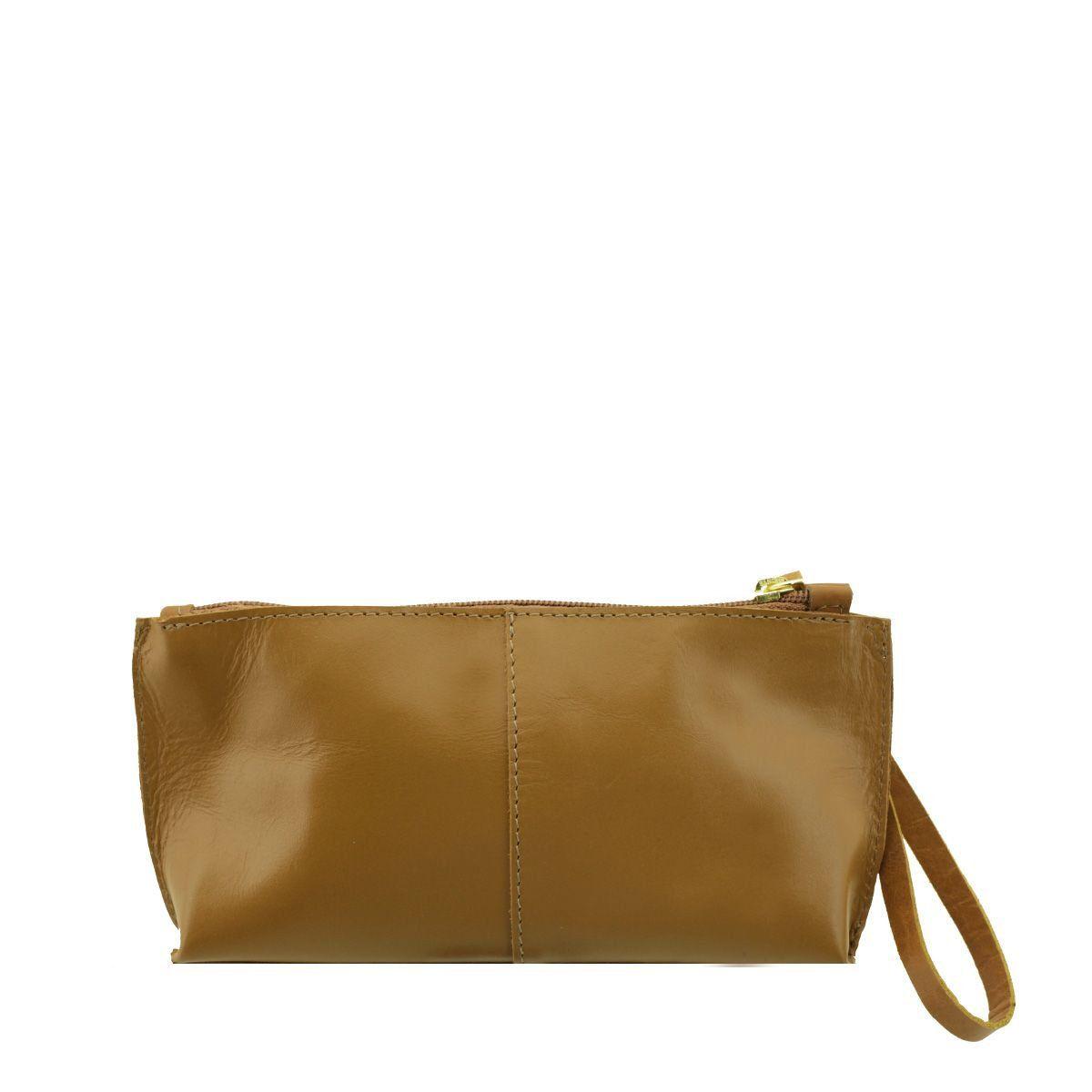 Bolsa de mão ou Necessaire com alça Caramelo