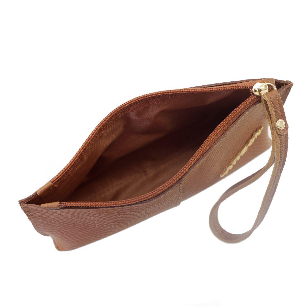 8566c304ff42f ... Bolsa de Mão ou Necessaire com Alça Caramelo - ARZON ...
