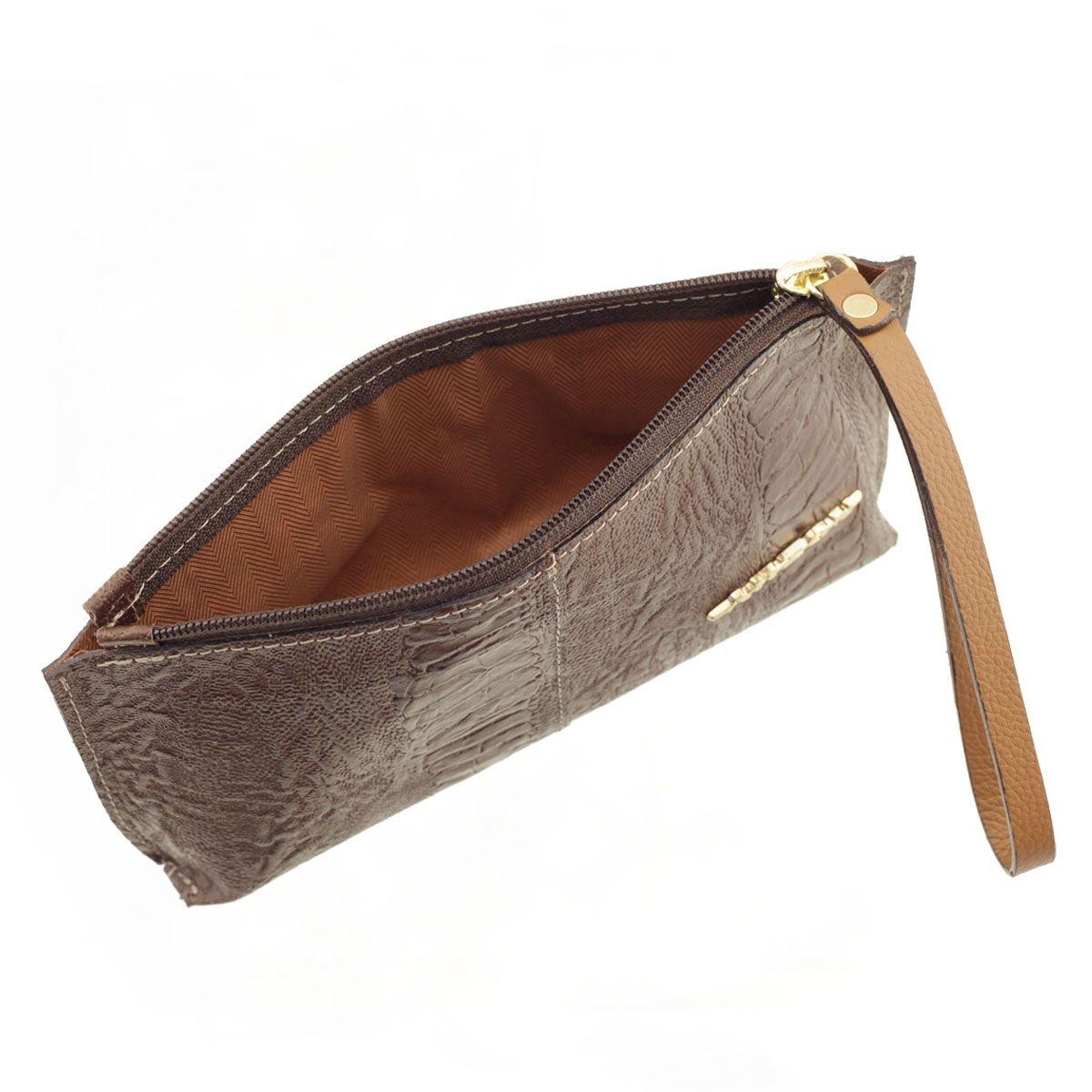 Bolsa de mão ou Necessaire com alça Chocolate