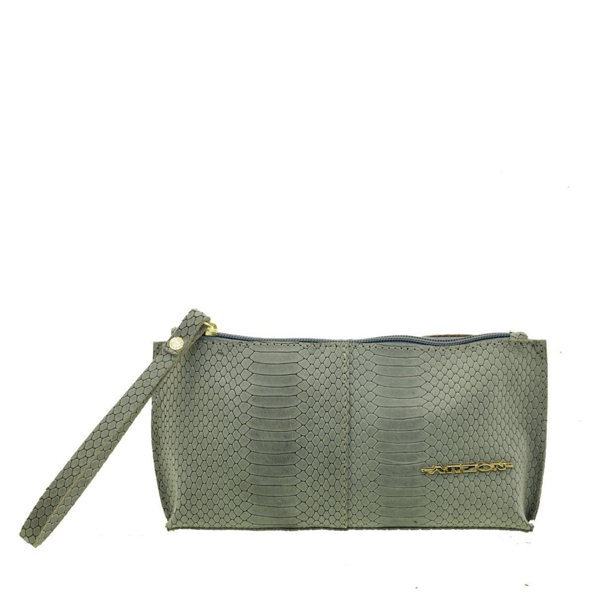 Bolsa de mão ou Necessaire com alça Cinza