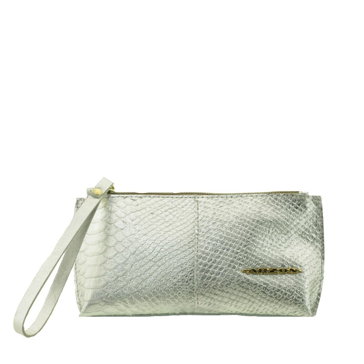 Bolsa de mão ou Necessaire com alça Prata Serpente