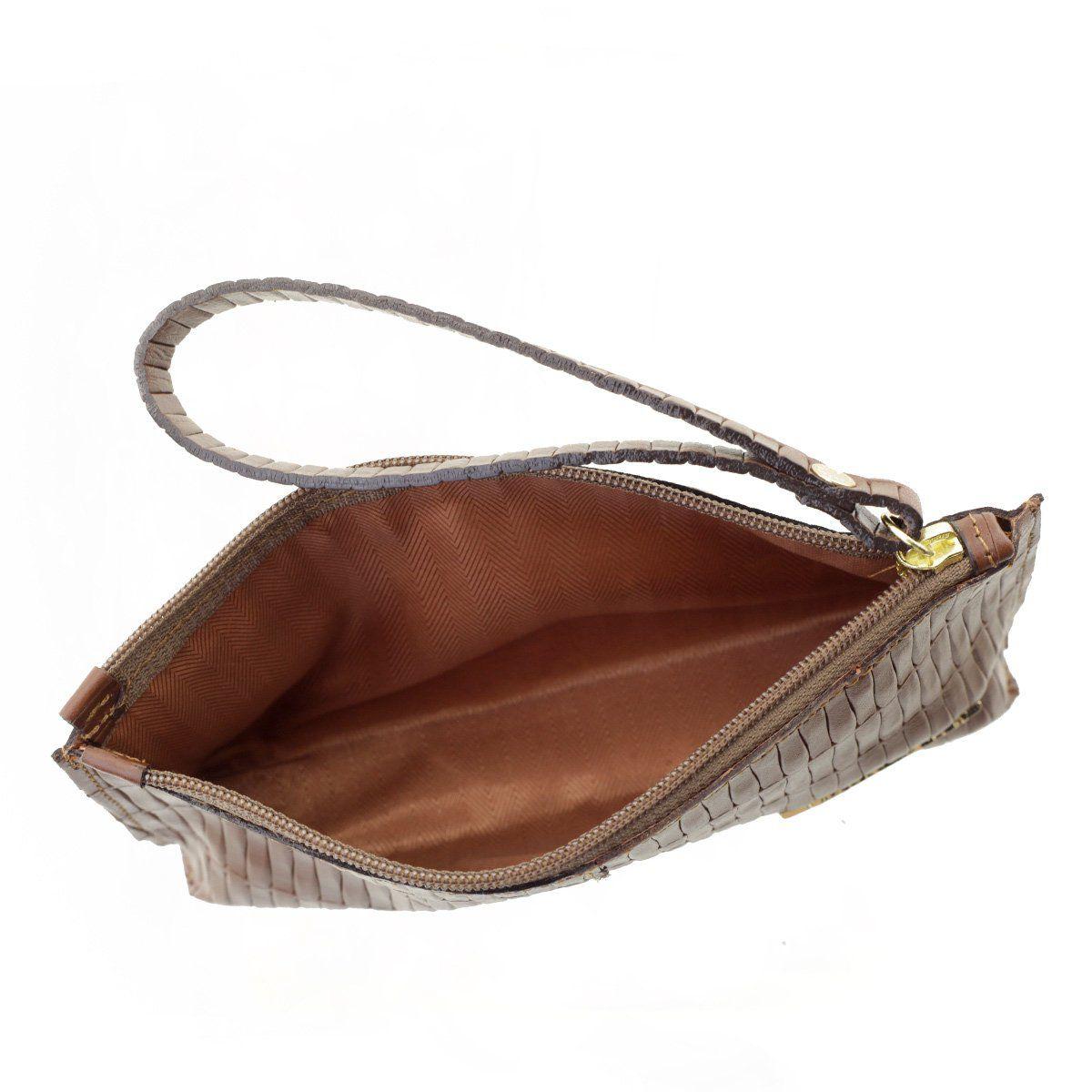 Bolsa de Mão ou Necessaire com Alça Tresse Chocolate