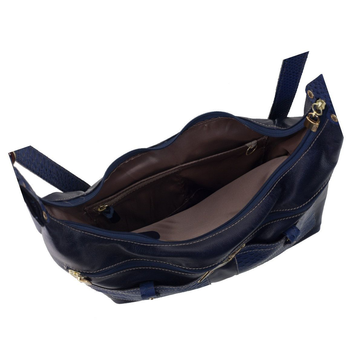 Bolsa Mochila em Couro Azul