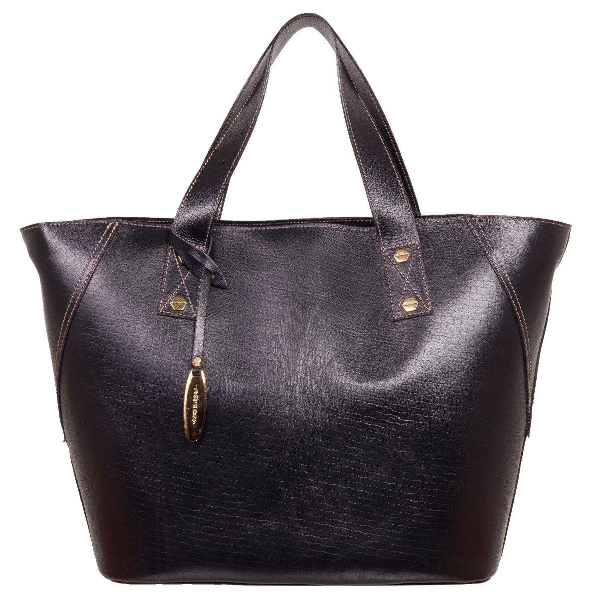 Bolsa Eco Bag em Couro Legítimo Black