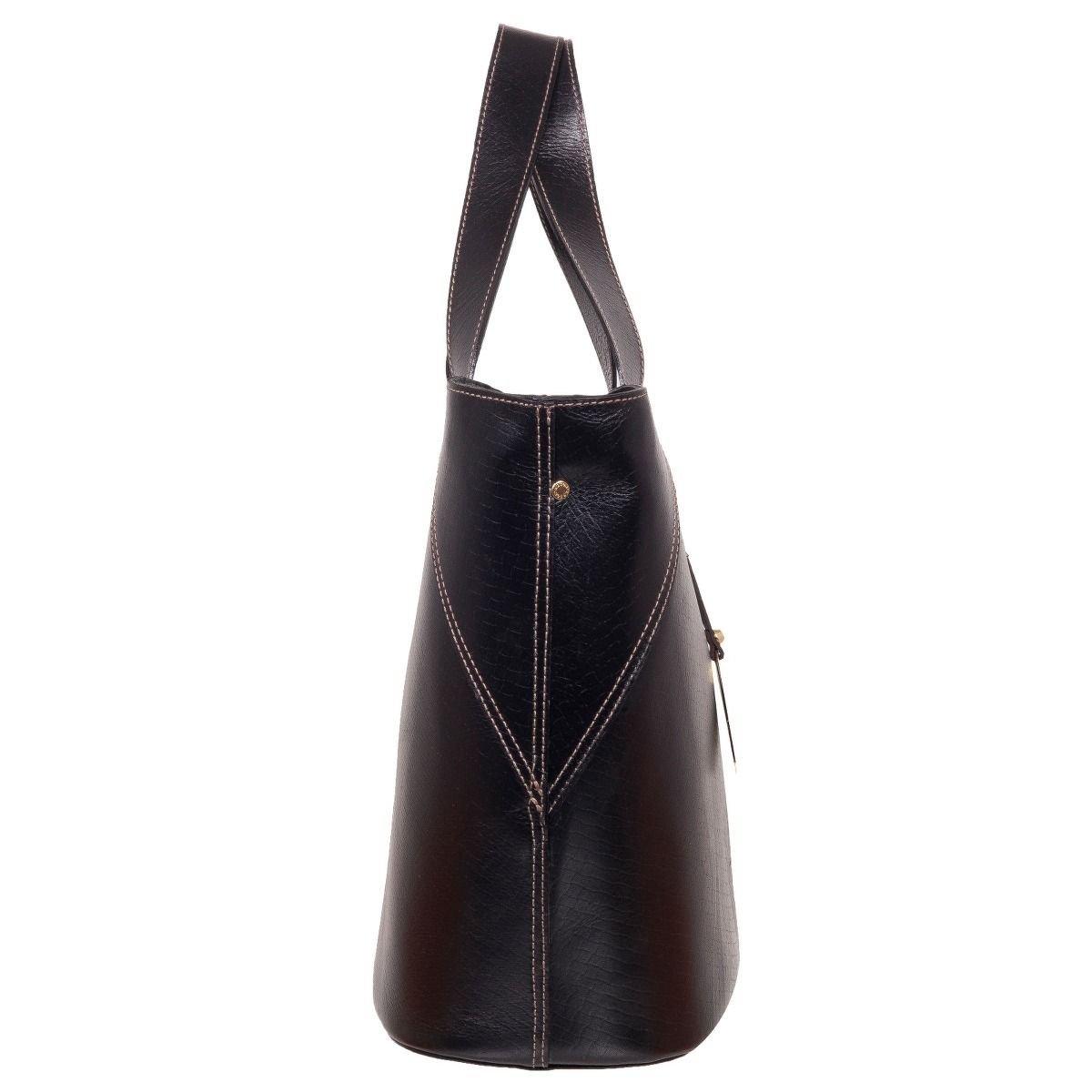 Bolsa De Couro Legitimo Usada : Bolsa eco bag em couro leg?timo black