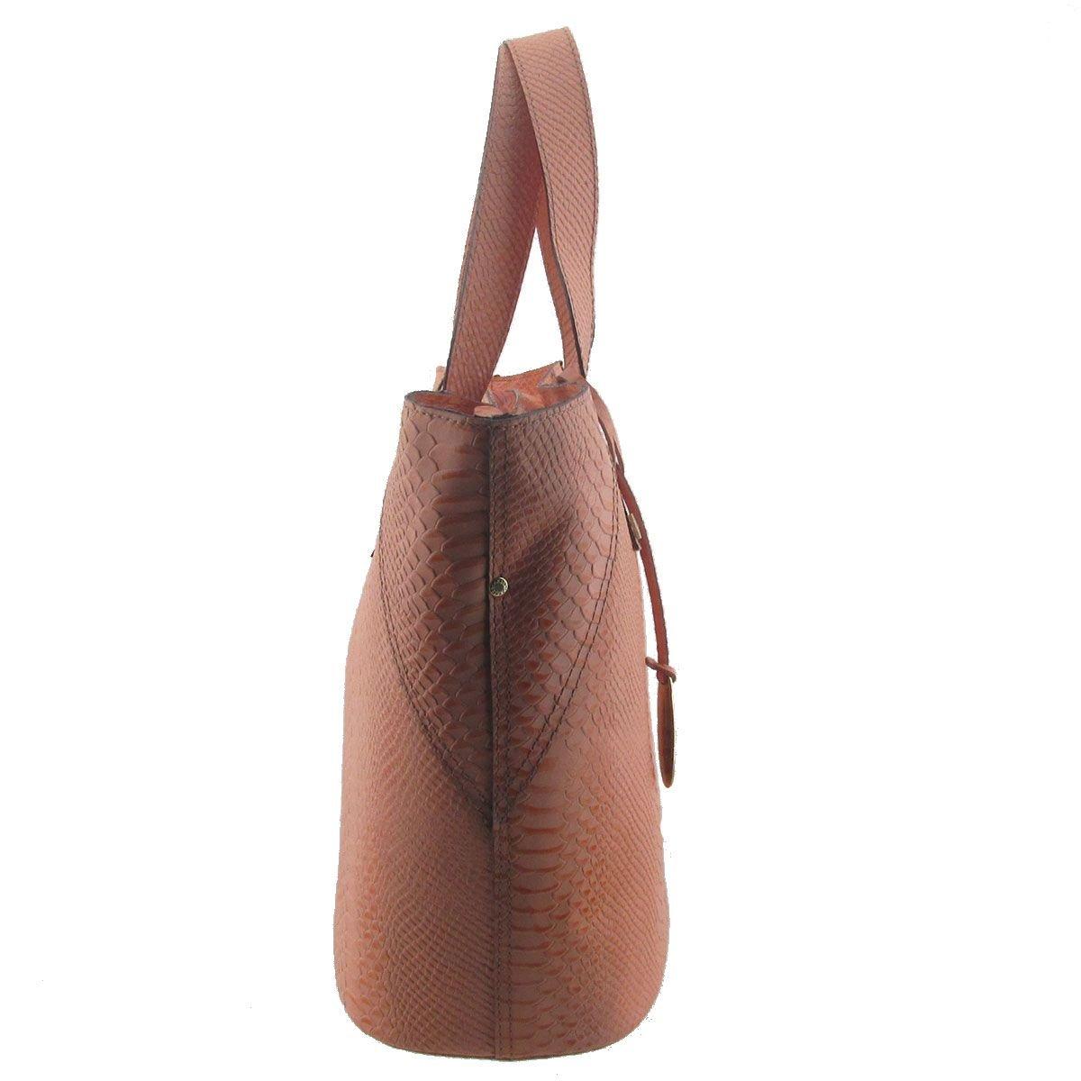 Bolsa Eco Bag em Couro Legítimo Salmão