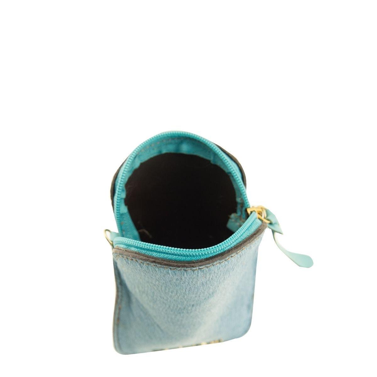 Bolsa em Couro  com Alça Tiracolo Azul