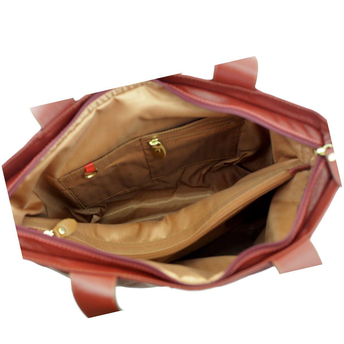 Bolsa em Couro com Bordado Bordeaux