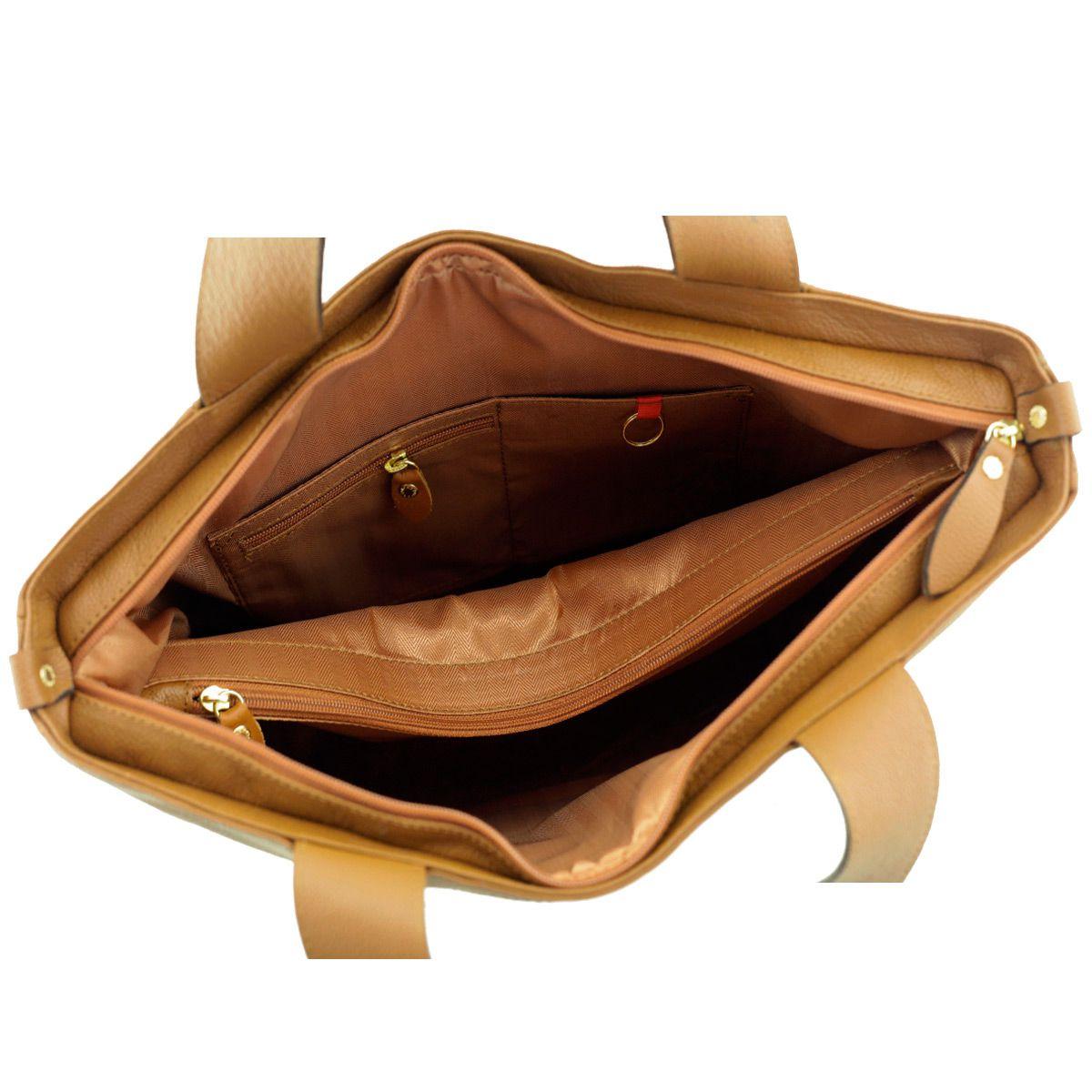 Bolsa em Couro com Bordado Caramelo