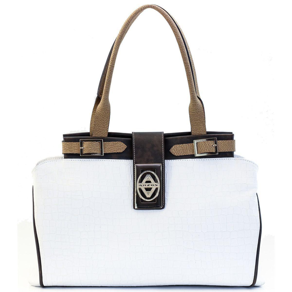 Bolsa em Couro com Fivelas Off White