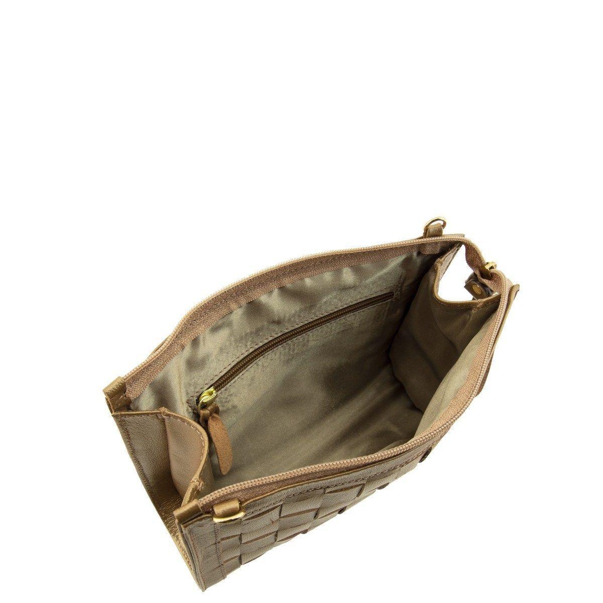 Bolsa em Couro com Quadriculado Bronze