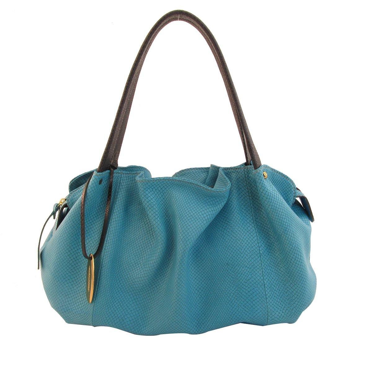 Bolsa em Couro Drapeada Azul