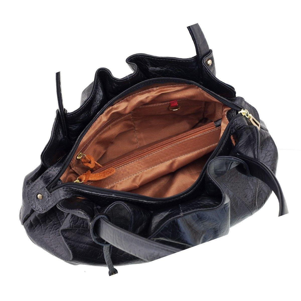 Bolsa em Couro Drapeada Black