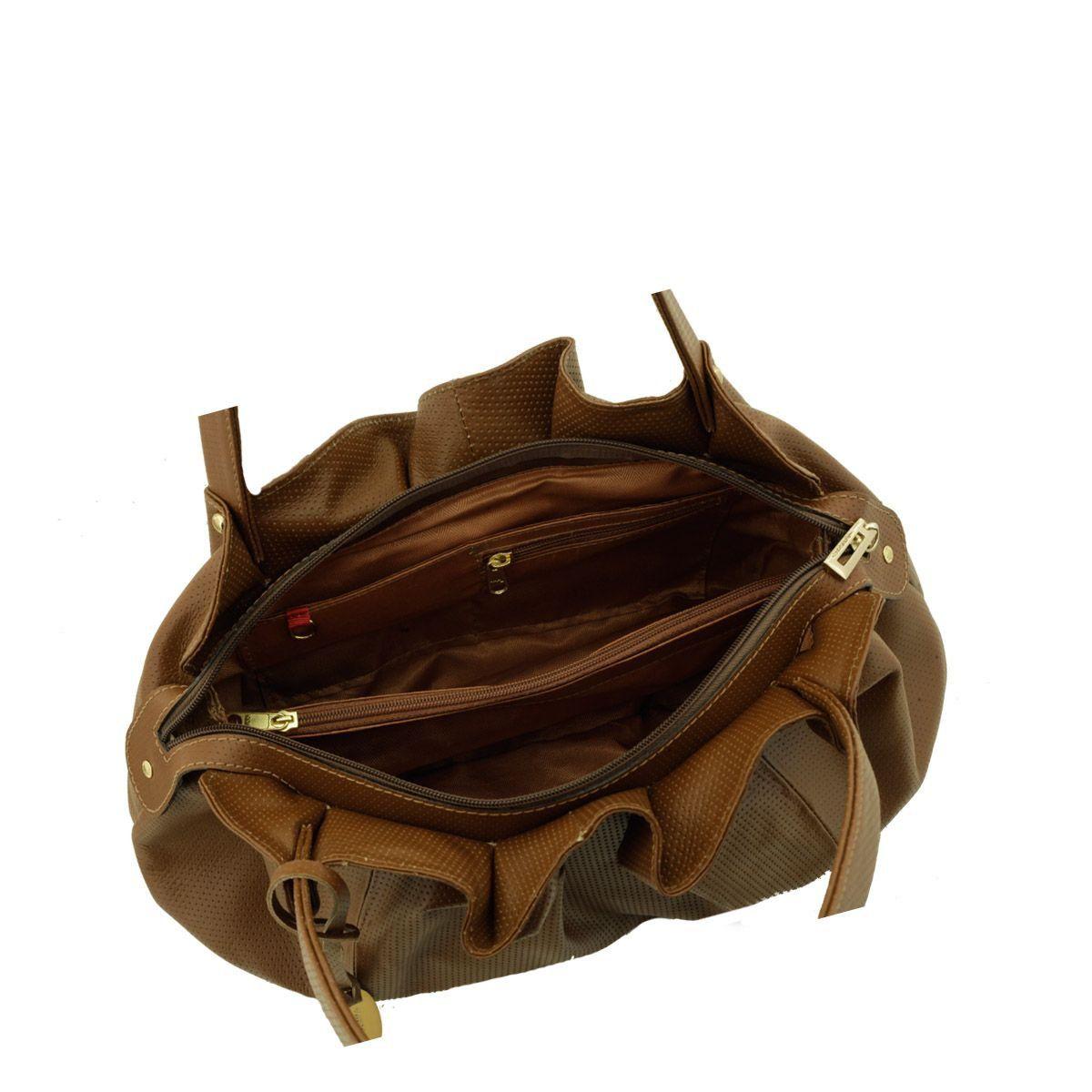 Bolsa em Couro Drapeada Chocolate