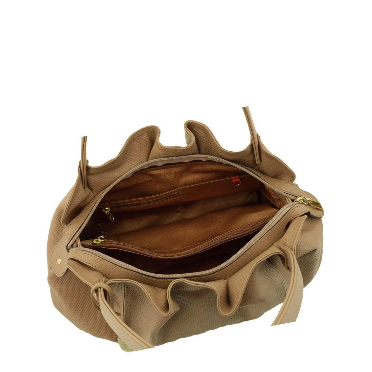 Bolsa em Couro Drapeada Nude