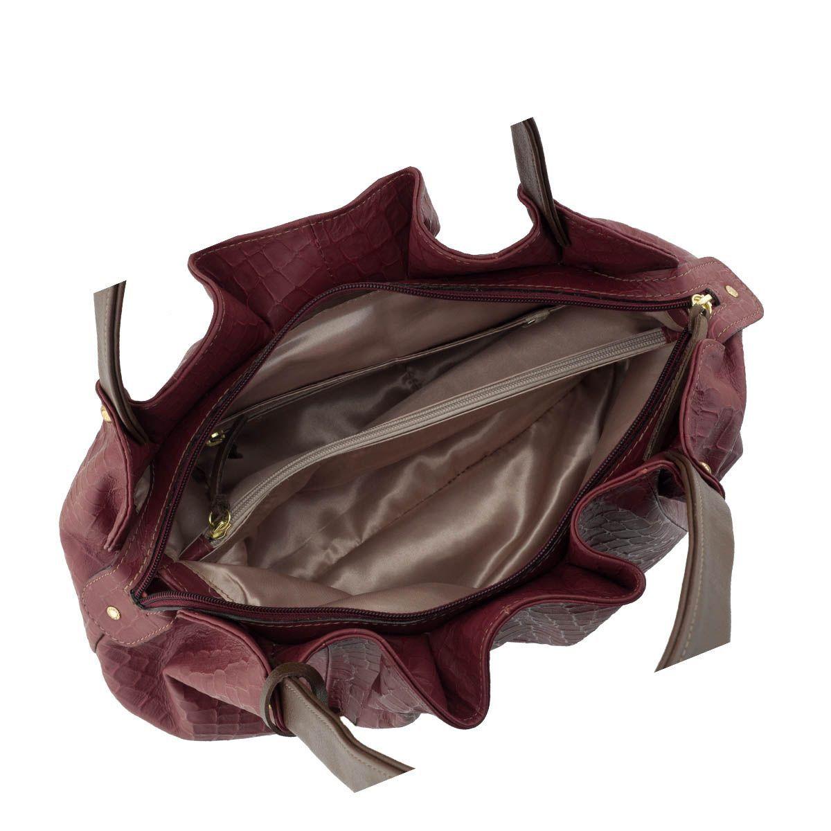Bolsa em Couro Drapeada Vermelho Escuro