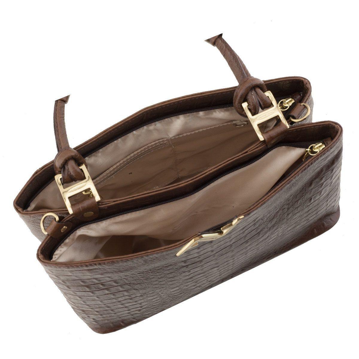 Bolsa em Couro Estruturada Chocolate