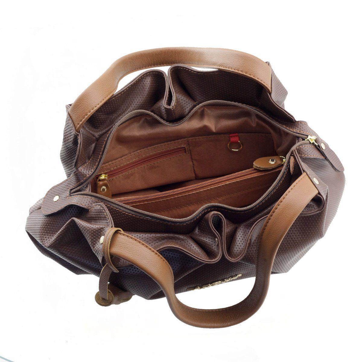 Bolsa em Couro Legítimo Drapeada Café Chocolate