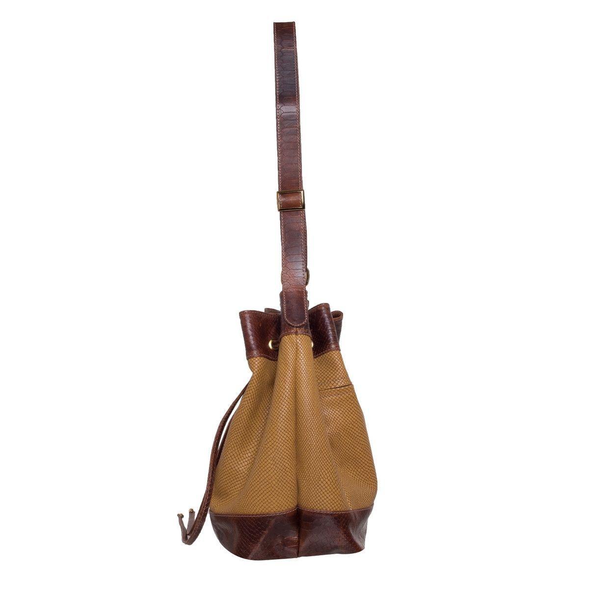 Bolsa Saco em Couro Queimado