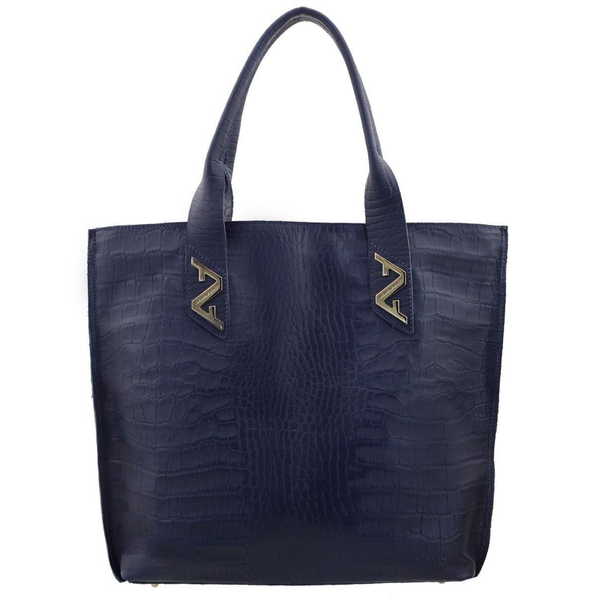Bolsa em Couro Sacola Azul Marinho