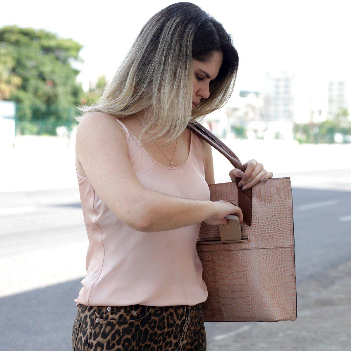 Bolsa em Couro Sacola Rosê com Chocolate