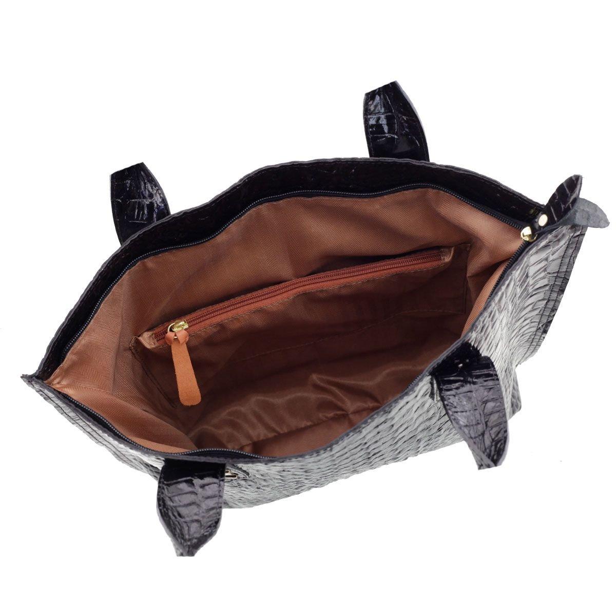 Bolsa em Couro Sacola Verniz Preto com Brilho
