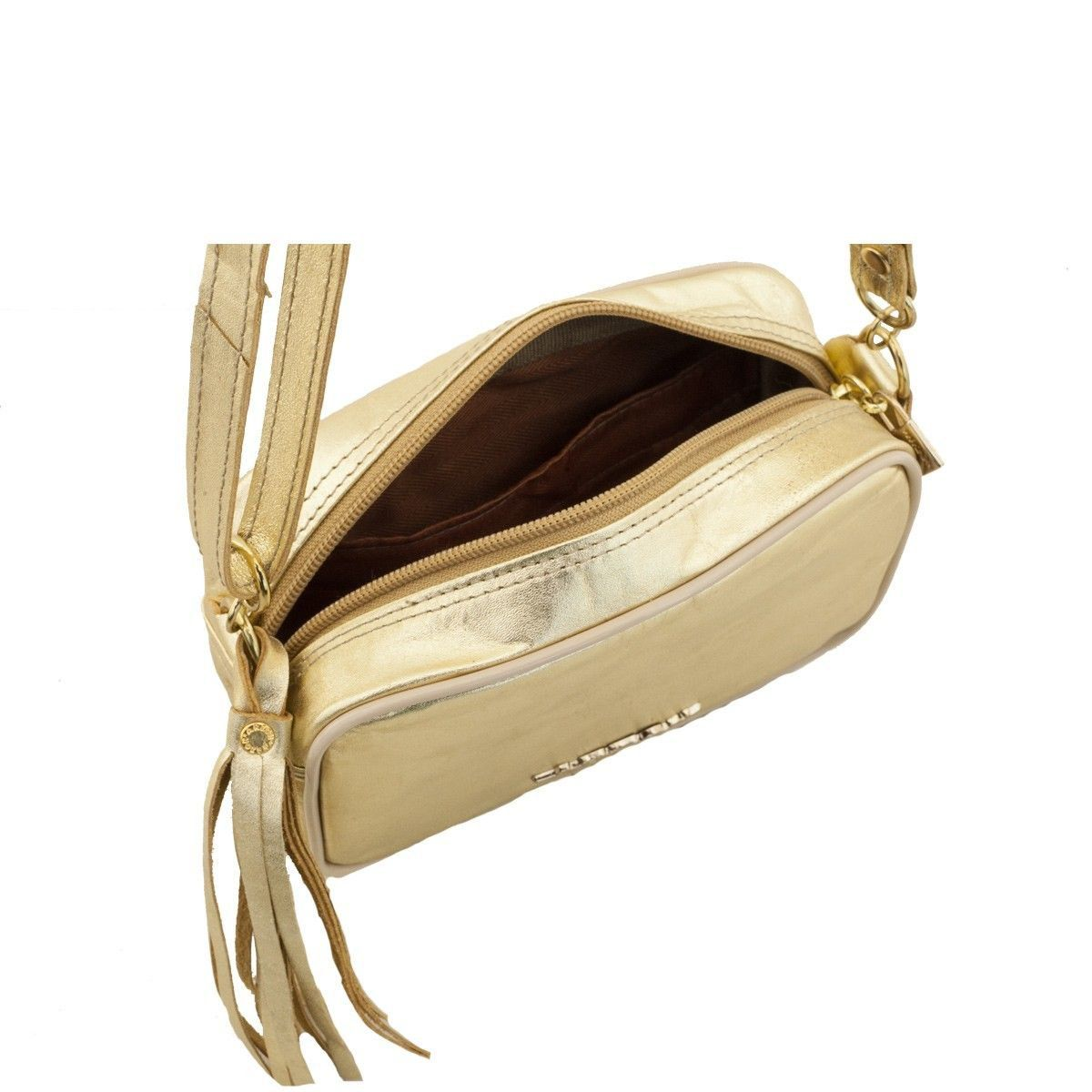 Bolsa em Couro Tiracolo Dourado