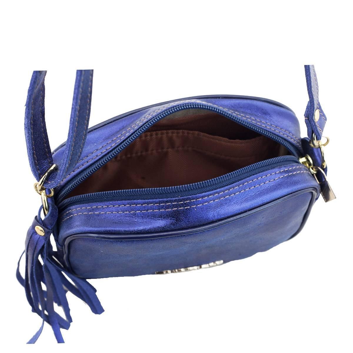 Bolsa em Couro Tiracolo Metalizado Azul