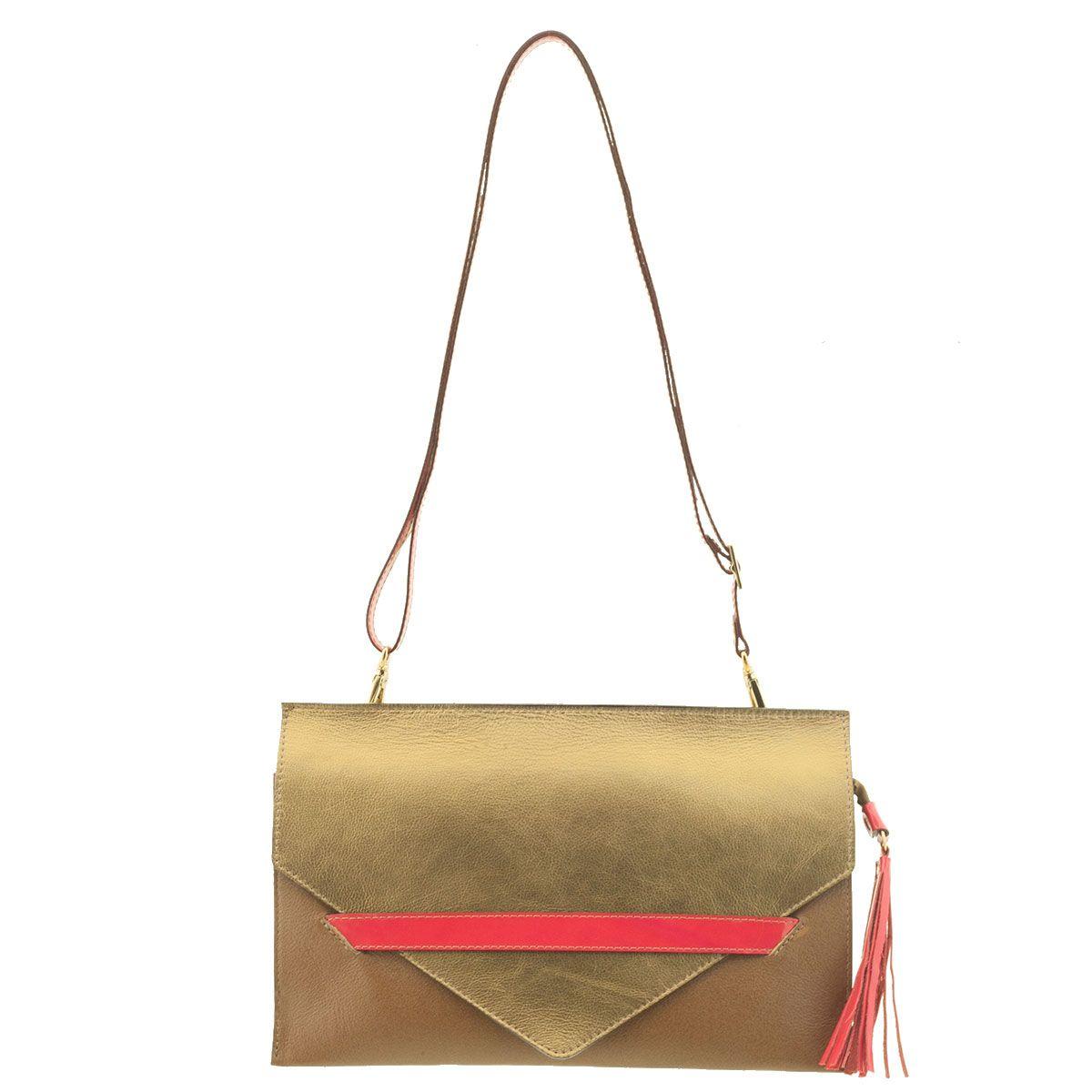 Bolsa Envelope em Couro Bronze