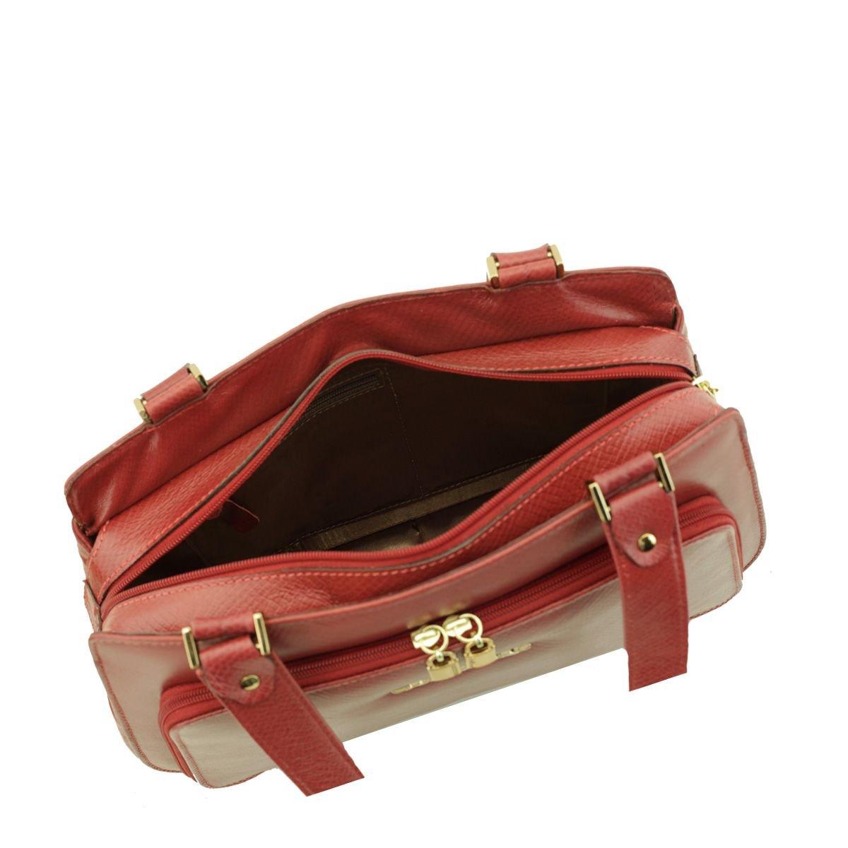 Bolsa Estruturada de Couro Vermelha