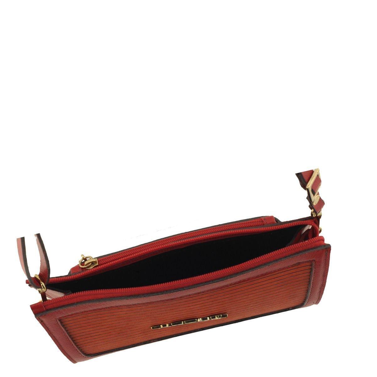 Bolsa Pequena em Couro Legítimo Vermelho