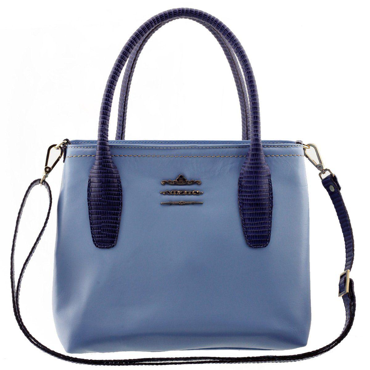 Bolsa Feminina de Couro Legítimo Azul Bebê com Azul Marinho