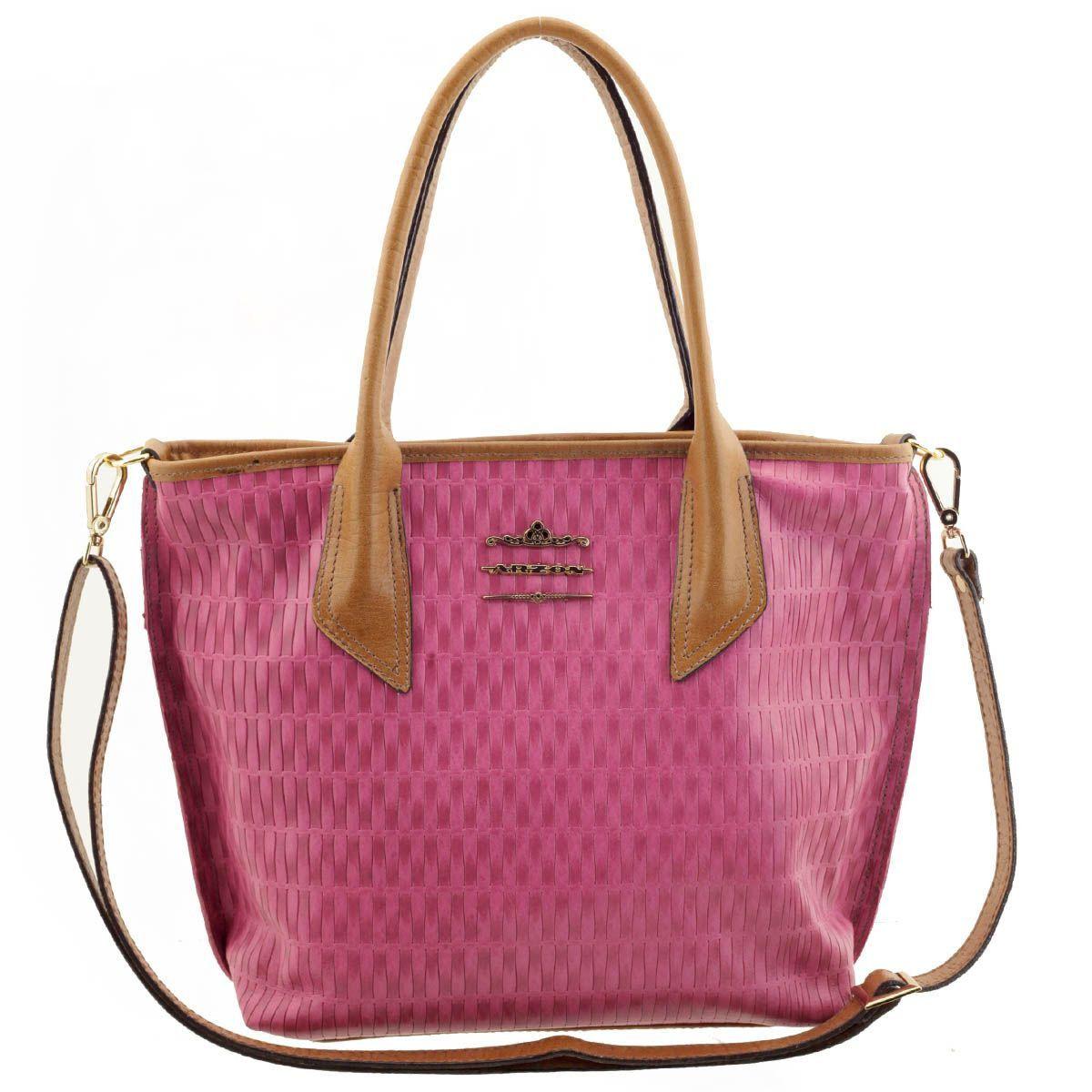 4608d4a8a Bolsa Feminina de Couro Pink - ARZON ...