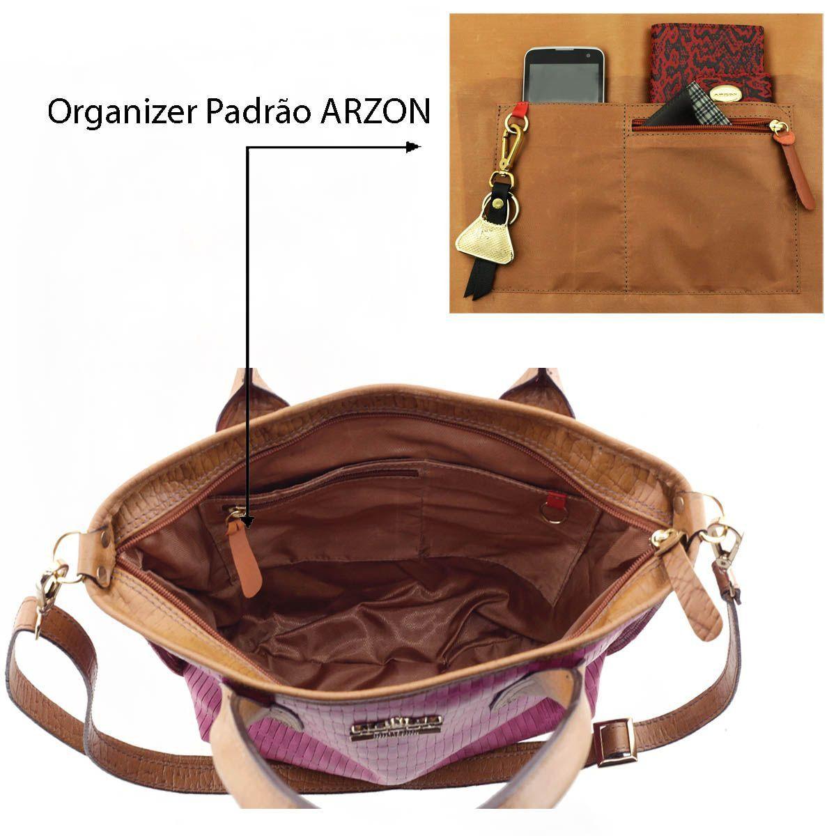 8d5702c1e ... Bolsa Feminina de Couro Pink - ARZON ...