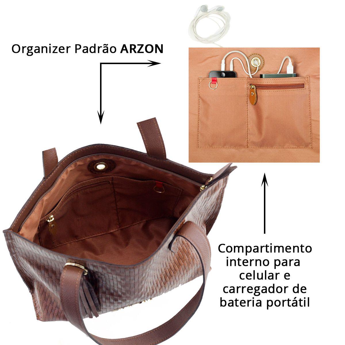 Bolsa Feminina de Couro Tressê Chocolate