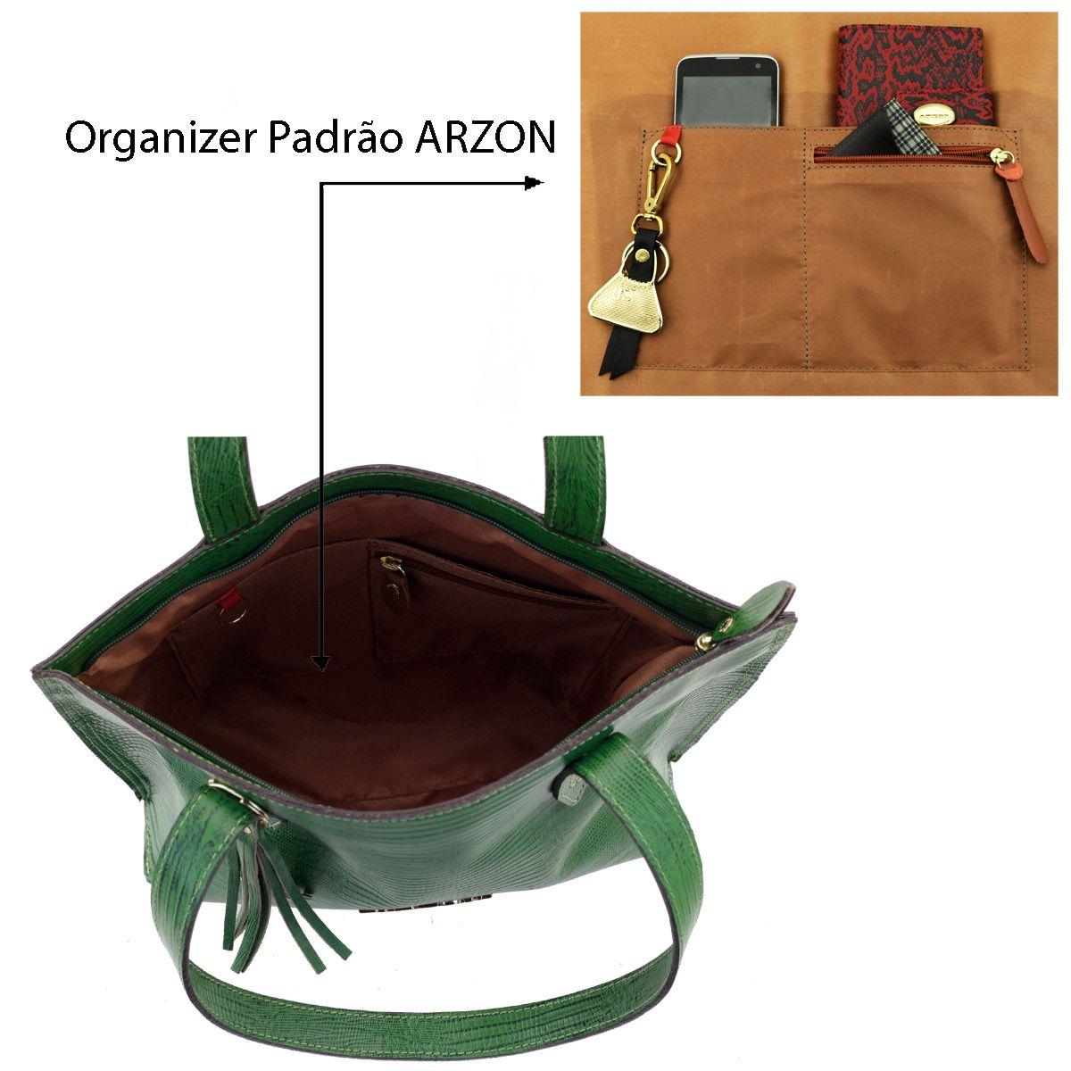 30d6511f1 ... Bolsa Feminina de Couro Verde - ARZON ...