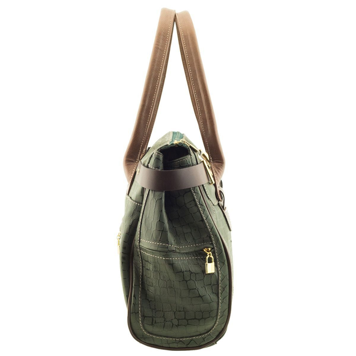 Bolsa Feminina em Couro Verde Escuro