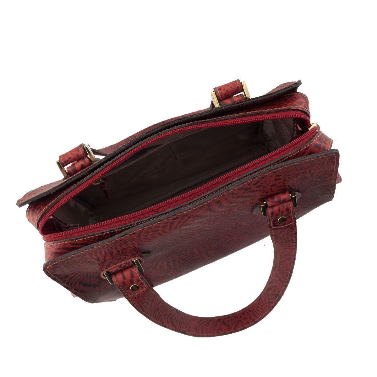 Bolsa Feminina Pequena Couro Vermelho Escuro