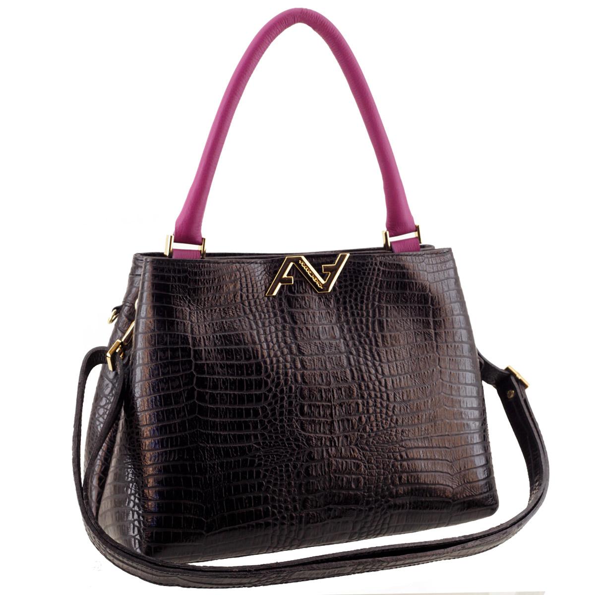 Bolsa Feminina de Couro Preta com Púrpura