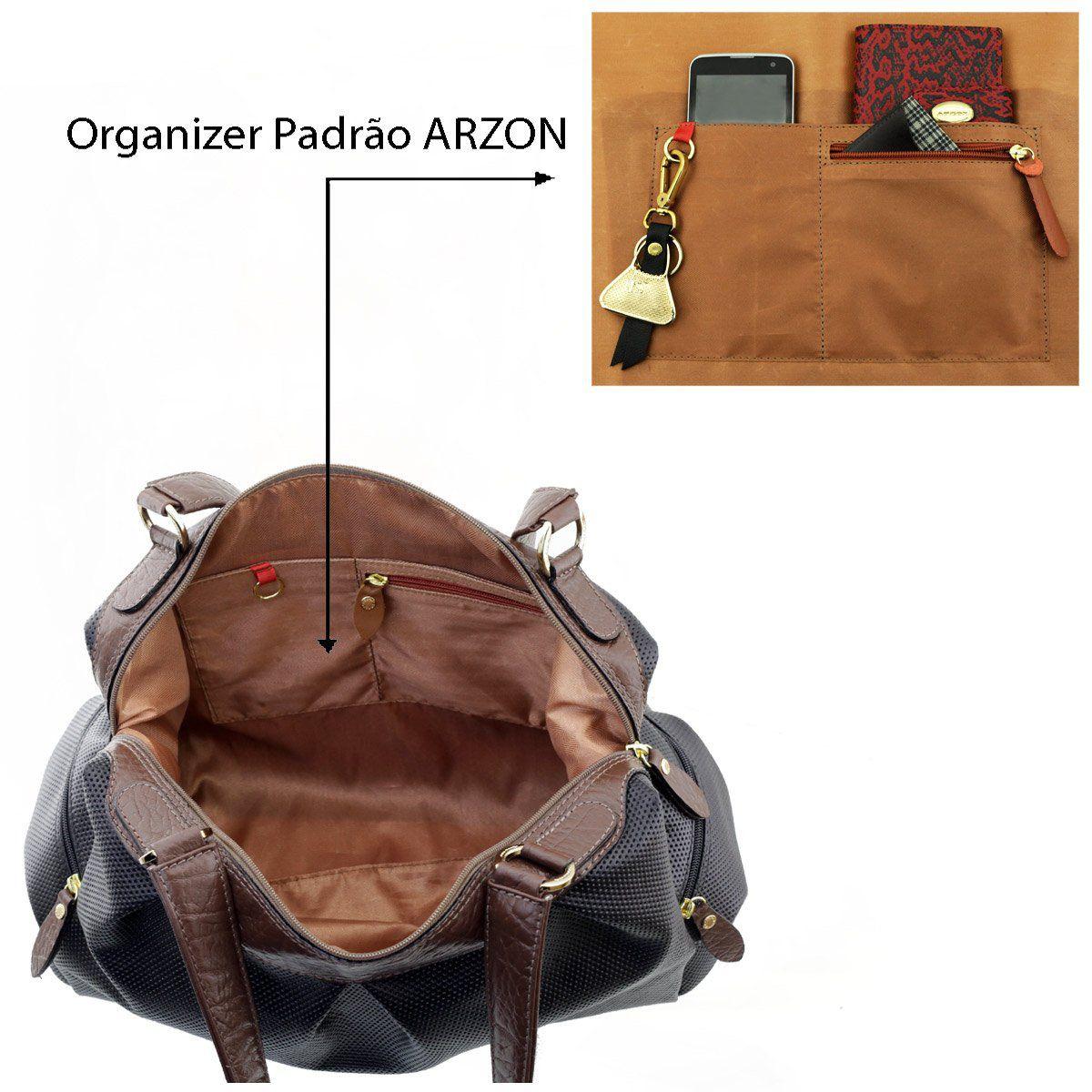 ea23e53bd ... Bolsa Grande Couro Preto Com Chocolate - ARZON ...