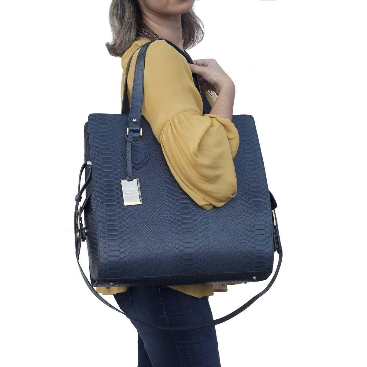 Bolsa Maxi de Couro Legítimo Azul