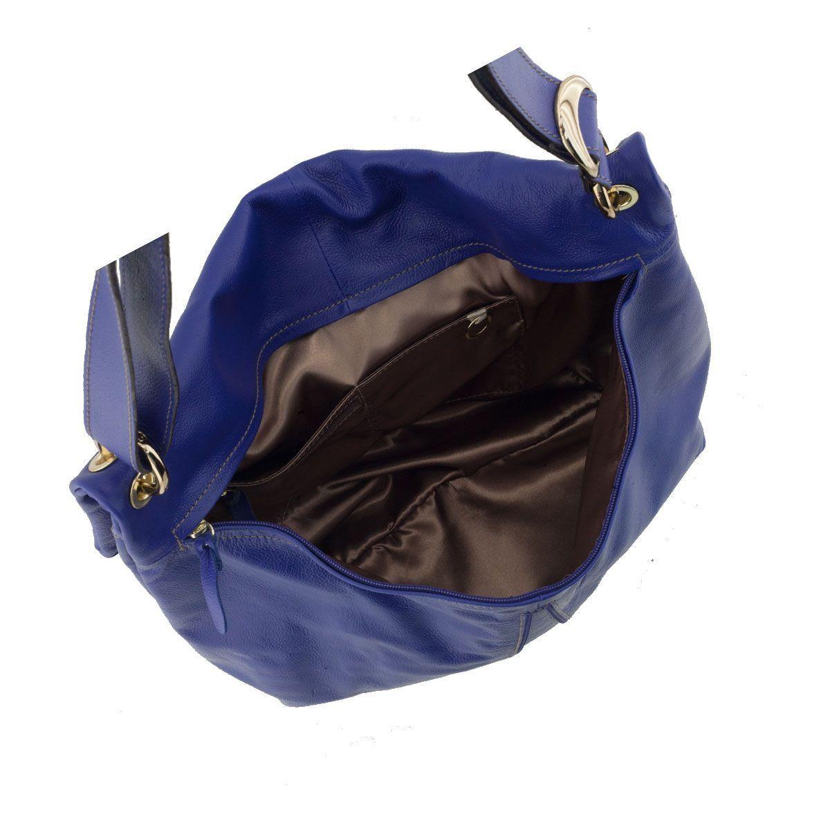 Bolsa Tiracolo de Couro Legítimo Azul