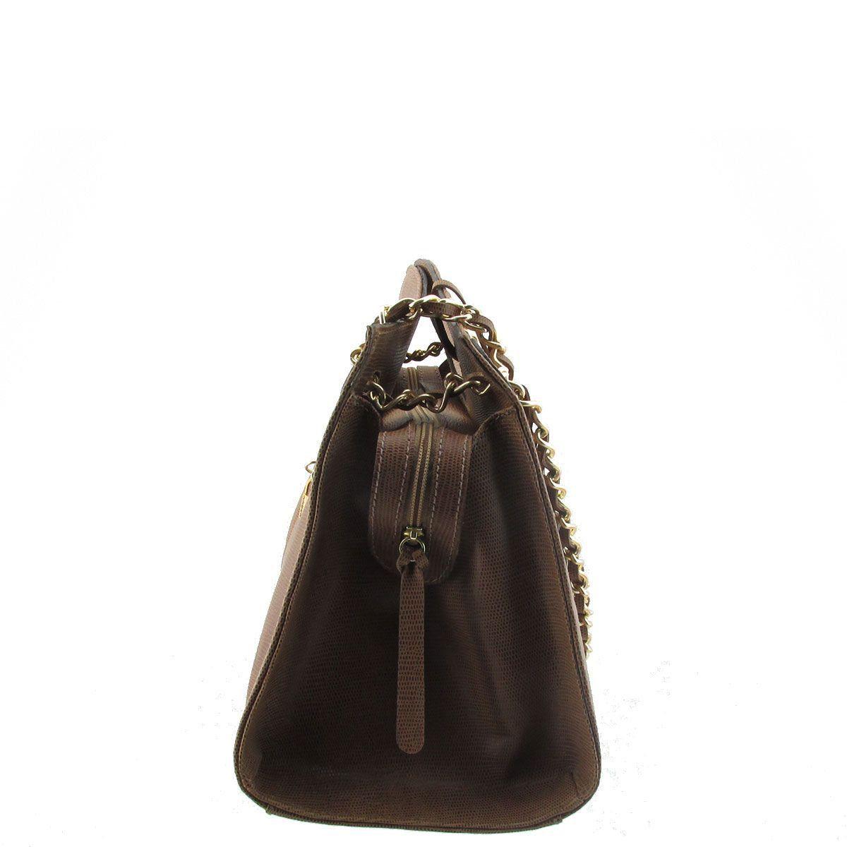 Bolsa Couro Legitimo com Alça de Corrente Chocolate