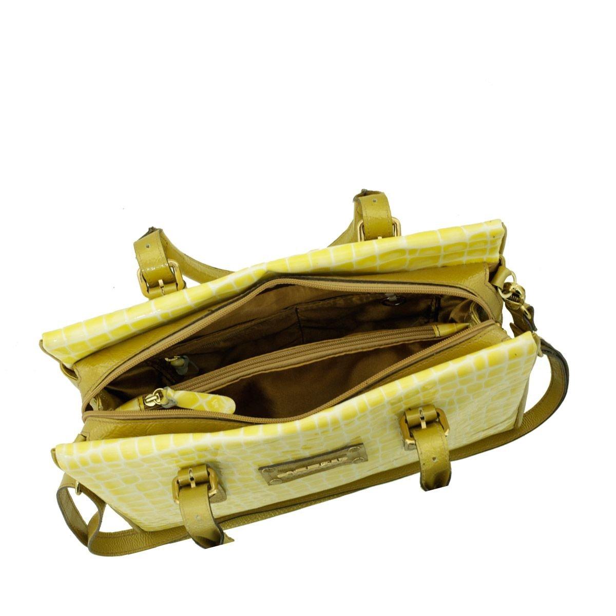 Bolsa Média de Couro Amarela