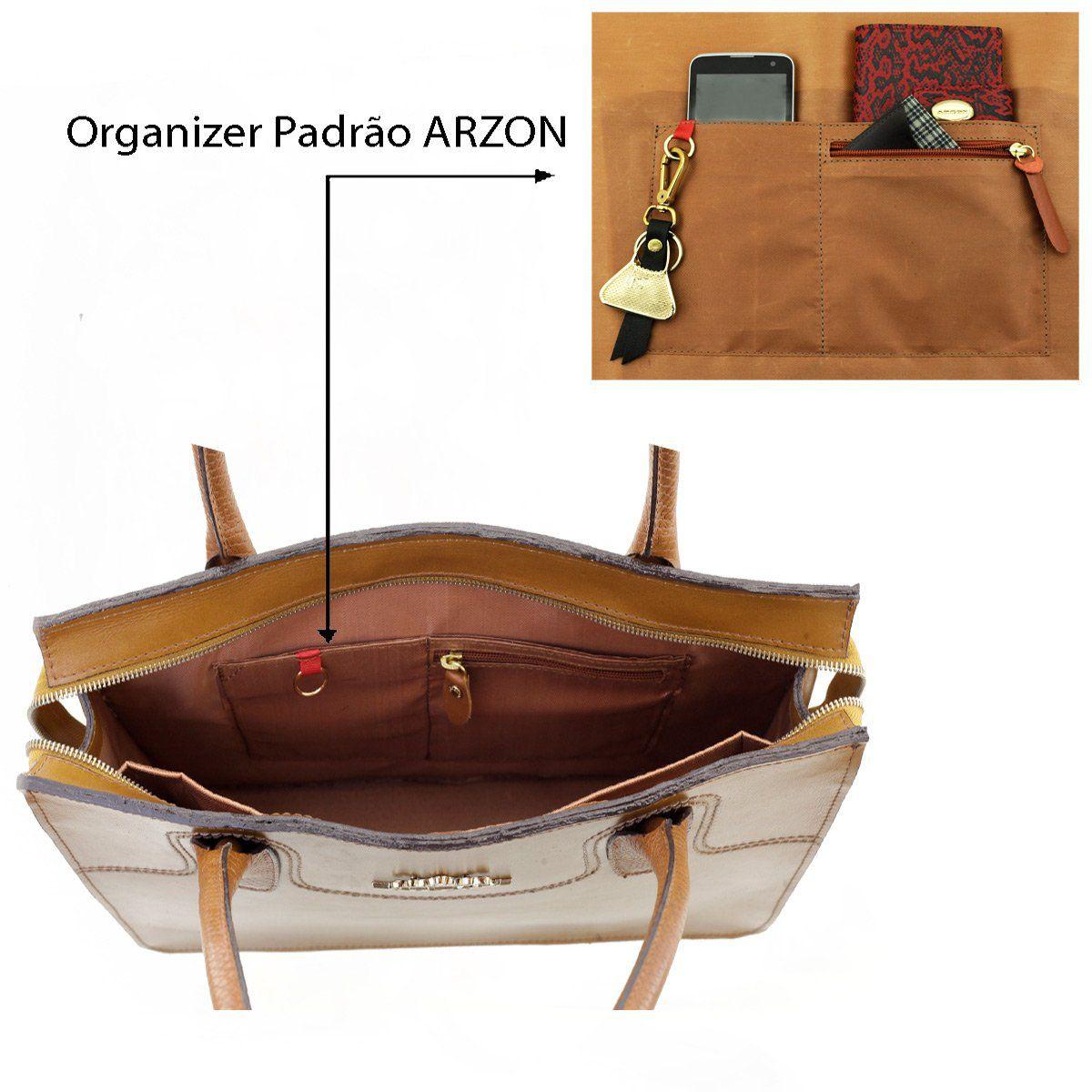 908faea57 ... Bolsa Pasta de Couro Legítimo Caramelo - ARZON ...