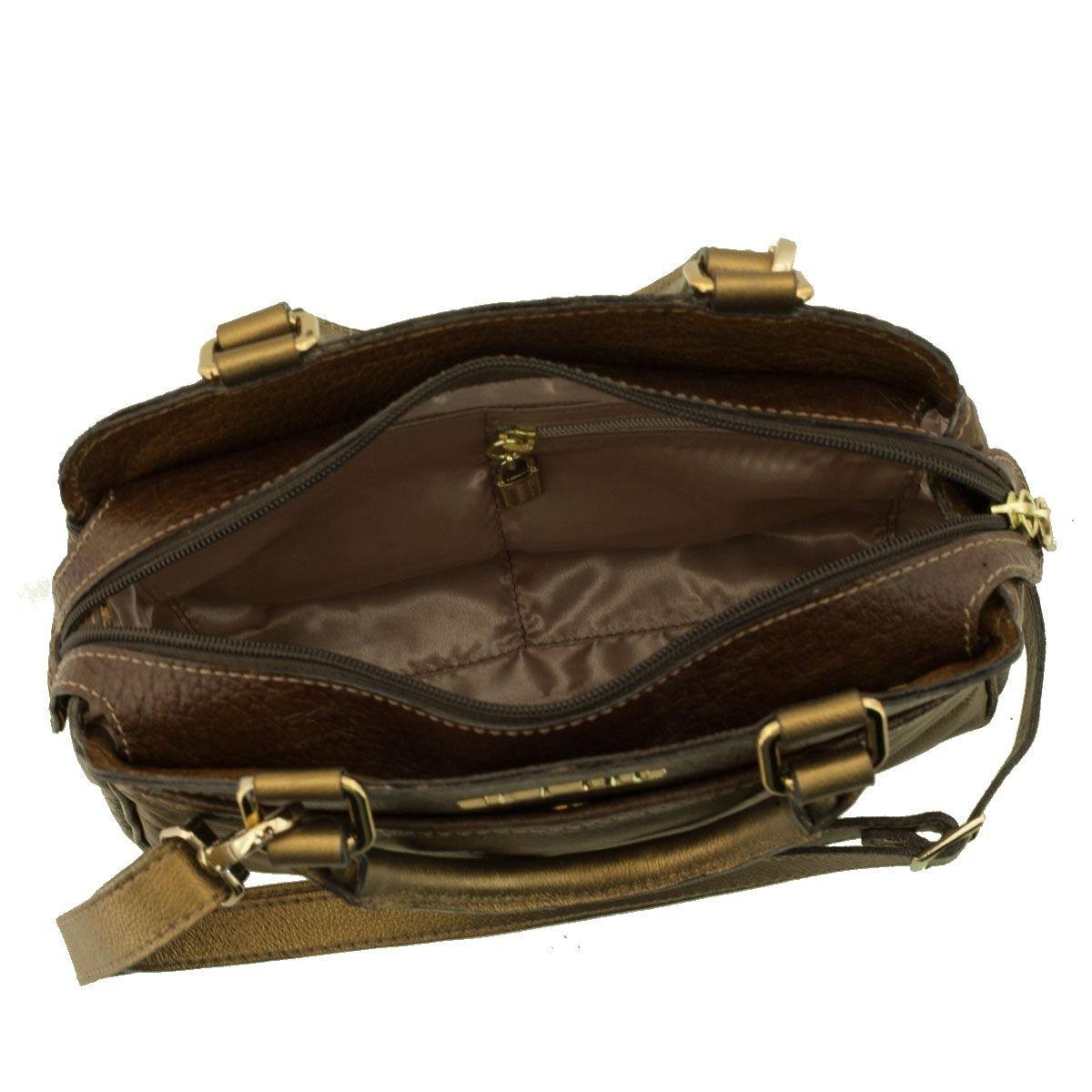 Bolsa Pequena Couro Bronze